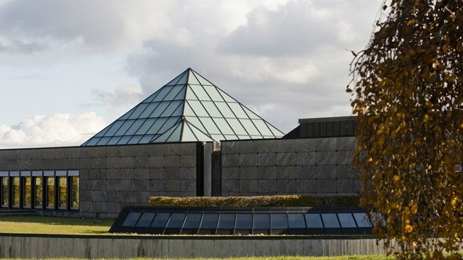 Glass pyramid of the University of St.Gallen (HSG) library building